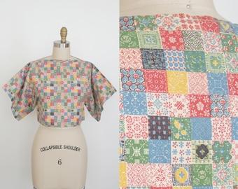 Vintage 1970s Patchwork Blanket Novelty Print Short Sleeve Top - Slash Neck - Boxy Crop Top - Floral - Women's Small Medium