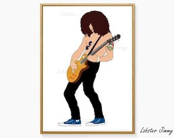 Slash Guns N Roses, Digital Art Ready to Print, Guitar Art, 80s 90s Rock Music, Sweet Child of Mine, November Rain, Welcome to the Jungle