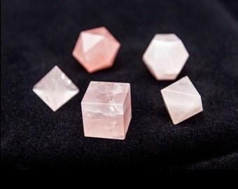 Rose Quartz Sacred Geometry Set/ Rose Quartz Platonic Solids