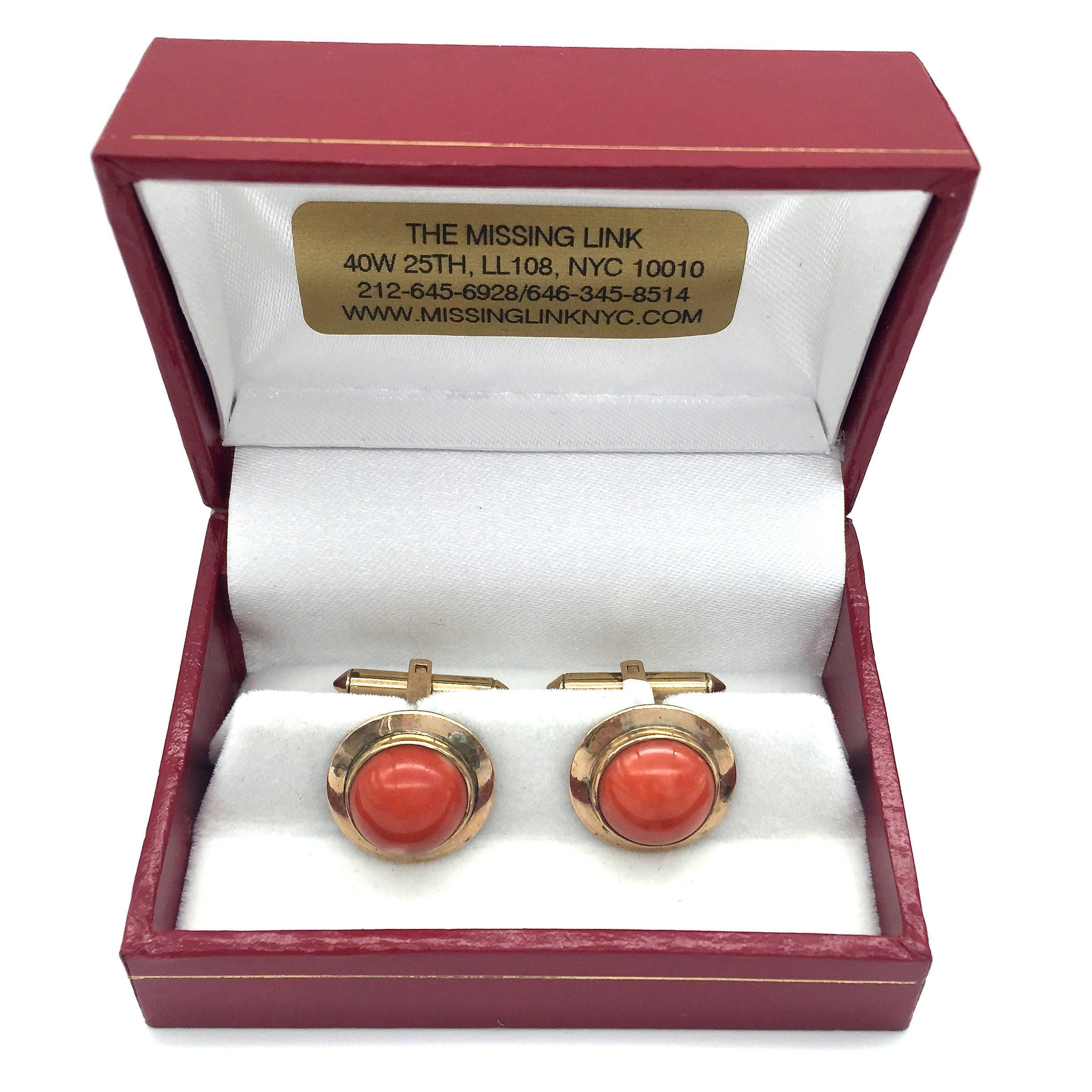Vintage 14K Gold & Coral Cufflinks with Box Mens Gifts, Wedding ...