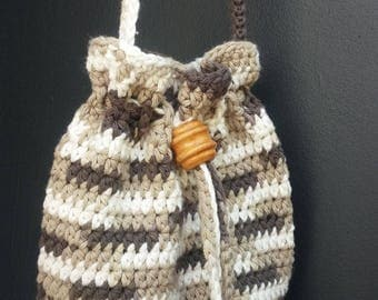 Crocheted Purse Little Dashing Drawstring Cross Body Cotton Tote Bag Brown Ombre