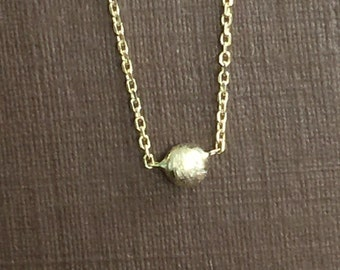 """14k solid gold necklace with gold ball, satin brushed finish, 18"""", solitaire necklace , diamond cut chain"""