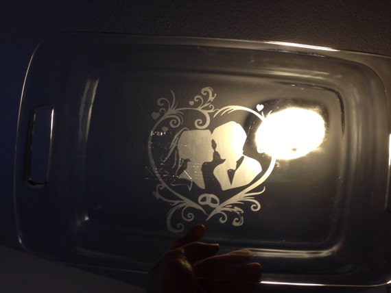 "9x13"" Etched Bride and Groom Pyrex"