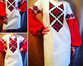 ukrainian embroidered dress vyshyvanka national gown ethnic boho chic peasant