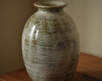Tall Pottery Vase by Fire Garden Pottery. Rustic Vase. Shino with silver white overglaze.