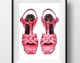 YSL Red Heels Shoe Print - Original watercolor print
