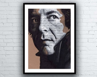 Leonard Cohen Portrait Drawing - signed Giclée art print with Hallelujah Lyrics - A5 A4 A3 Size