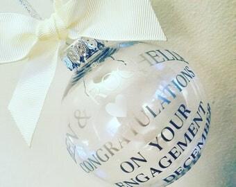 Engagement Bauble, Memento, Keepsake, Engagement Gift, Hanging Bauble, Home Décor