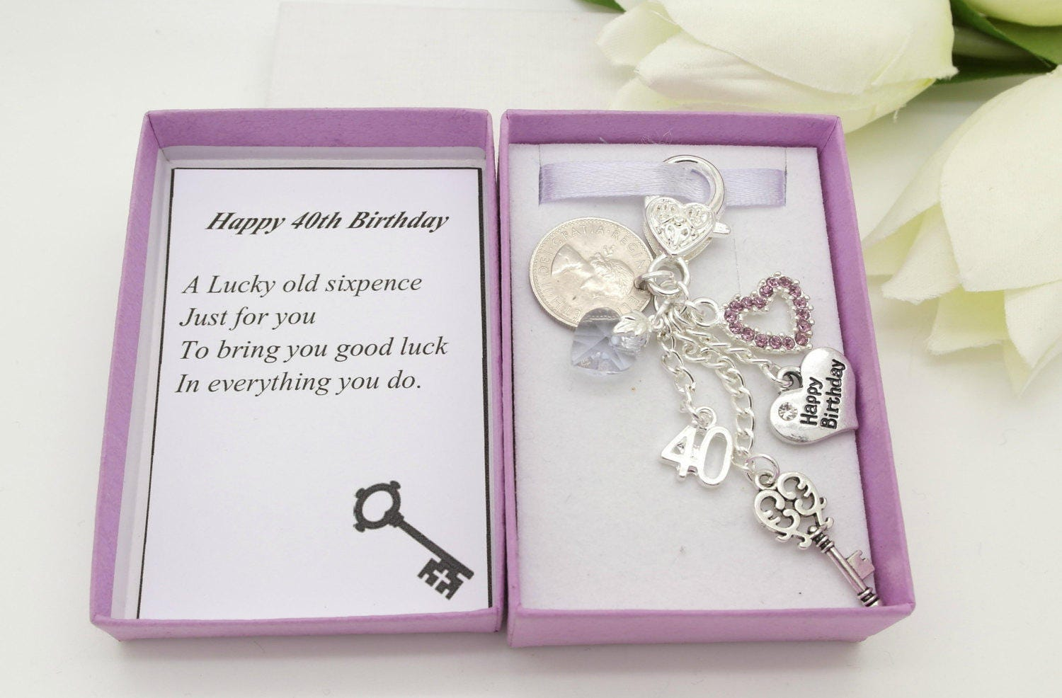 Personalised Happy 40th Birthday Gift Lilac Key Lucky Sixpence Charm Keyring