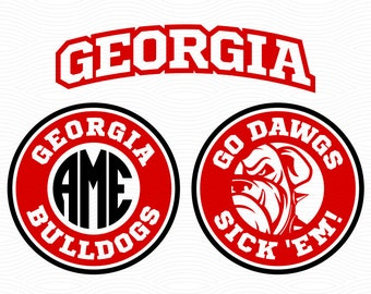 Georgia Bulldogs Monogram Cutting Files - SVG DXF Eps, Studio3 - Georgia Go Dawgs Cut File for Cricut, Silhouette Studio, Cutting Machines