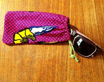 ANNIBALE CYCLING glasses case - Wax print cotton sunglasses pouch - green cord