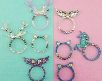Size 8.5 - Kawaii Glitter Resin Rings - Unicorn, Deer Antlers, Angel Wings, Cat Ears