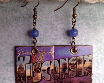 Up-cycled Wisconsin State Postcard Earrings, decoupage earrings, cereal box earrings