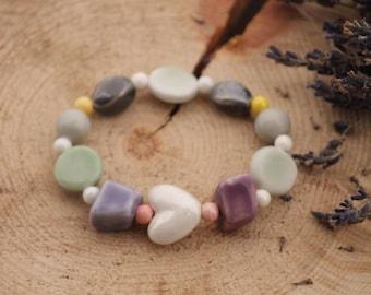 Ceramic Bracelet Chunky Bracelet Pastel Beads Bracelet Boho Bracelet Bold Bracelet Ceramic Gift for Her Elastic Stretch Bracelet