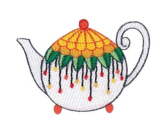 Teapot Whimsy Design 5 Filled Stitch Machine Embroidery Design 4x4 5x7