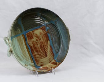 Wheel thrown platter or brie baker with geometric glaze