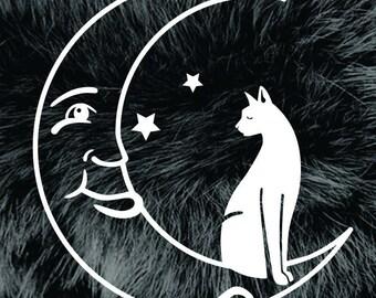 Moon Cat Vinyl Decal Sticker