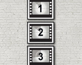Movie Poster Set Movie Print Set Movie Wall Art Film Reel Countdown Cinema Poster Film Poster Film Print Movie Art (No 1,2,3)