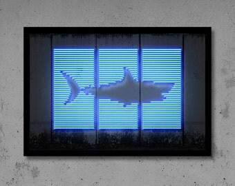 Shark Wall Art Neon Art Man Cave Gift for Him Home Décor Animal Art Shark Art Hirst Art Street Art Graffiti Art Banksy Neon Print