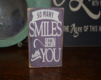So Many Smiles Begin With You - Quote Block Romance/ Love