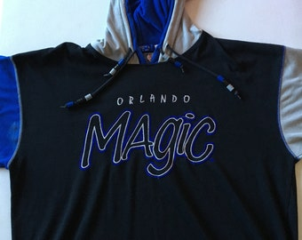 Starter Orlando Magic Short Sleeve Hooded T Shirt Double Hood Beads Size Large 90's