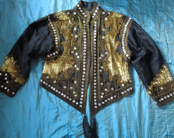 all embroidered jacket with vintage pearls and rhinestones