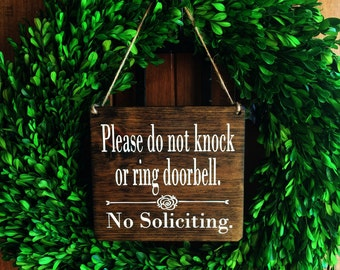 No Soliciting Sign | 7x8 | No Soliciting Door Sign | Do Not Disturb Sign | Do Not Ring Doorbell Sign | No Solicitation Signs | Door Signs |