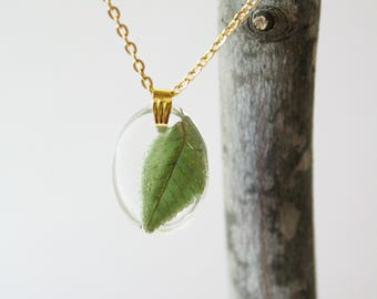 Real Leaf in Reisn Necklace, Leaf Necklace, Pressed Flower Jewelry, Resin Nature Jewelry, Green Leaf Necklace, Resin Plant Necklace