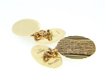 9ct yellow gold plain and patterned double oval chain cufflinks Birmingham 1971