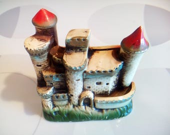 Vintage Castle With Moat Chalkware Coin Bank Made in Japan
