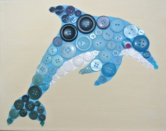 Button Art for Kids - Dolphin