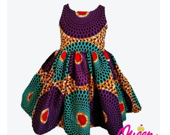 Circles Collection Purple/Turquoise Girls African Print Dress