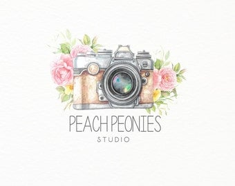 Camera Photography Logo - Watercolor -  Vintage - Pastel - Calligraphy - Photographer