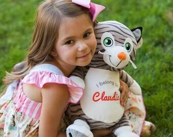 Cat,soft toy, personalised, gift, keepsake, birth announcement, birthday,newborn