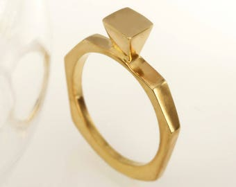 Modern gold ring, Women's Unique Gold Ring, 14K Gold Ring, Gold Stackable Ring, Geometric Ring, Anniversary Ring, Gift for her, RG-1204