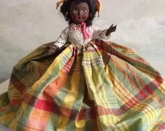 Black doll, French vintage black doll, Martinique dress, 12 inch black doll.