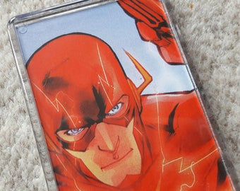 Unique Recycled Comic Book 'The Flash' Fridge Magnet/Mini Frame - Upcycled & Unique Comic Gifts