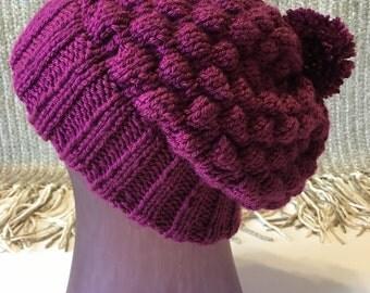 HandKnit Slouch Hat with Pom Pom / Double Brim Warm Cozy Winter Hat / Berry