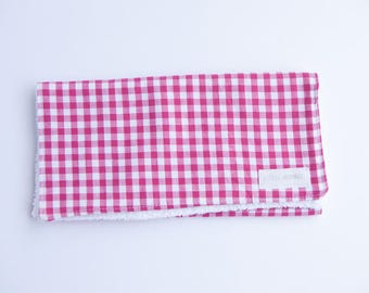 Burp Cloth - Large Pink & White Checked
