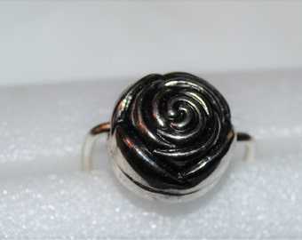 Antique Silver Rose Bead Ring