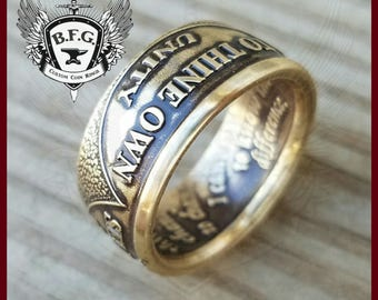 AA Sobriety Medallion Anniversary Recovery Bronze Coin Ring / Engraved Date Option