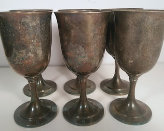 Antique Set of 6 WMA Rogers Silver Plated Goblets