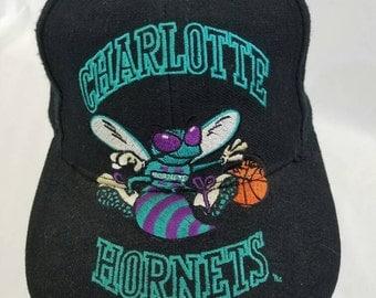 FREE SHIPPING Charlotte Hornets Snapback Hat by AJD Vintage 90s Nba Basketball Big Logo