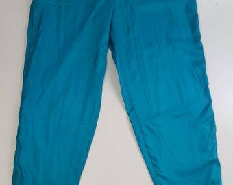 Bill Blass Green Blue Teal Windbreaker Track Pants Size Small Fully Lined Vintage 90s