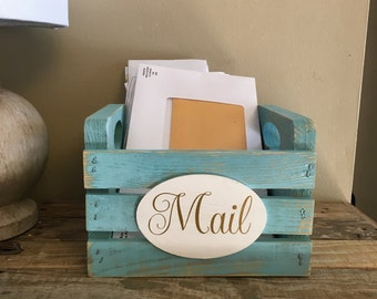 Mail Holder, Mail Organizer , Housewarming Gift, Personalized Gift - Rustic Office - Storage Box