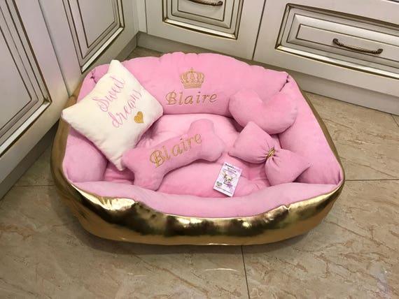 Pink and golden princess dog bed designer dog bed personalized for Designer cat beds uk