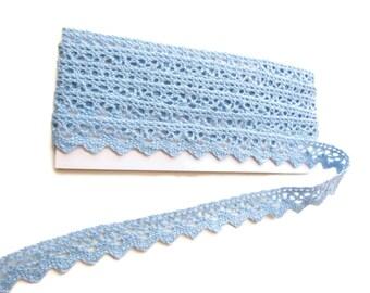 "2.5yds BLUE cotton crochet edging. Light blue cotton lace trim 1"" inch 2.5 cm. Light blue cotton edging. Blue crochet cotton border trim"