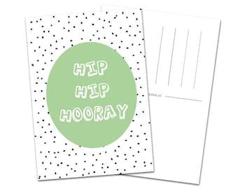 Postcard 'hip hip hooray'
