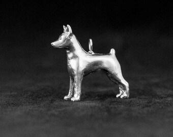 Sterling Silver Miniature Pinscher Charm, Silver Minpin Pendant