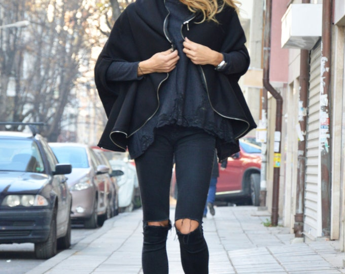 Black Extravagant Asymmetric Cotton Hooded Sweatshirt, Zipper Warm Top, Handmade Hoodie By SSDfashion